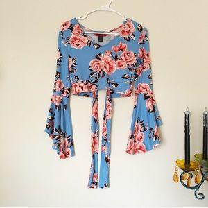 Blue Floral Crop Top w Bell Sleeves & Tie in Back